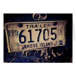 ヴィンテージのロードアイランドのナンバープレートの挨拶状 カード