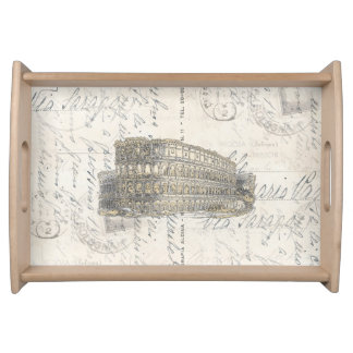 ヴィンテージのローマのコロシアムのイタリアンな郵便はがきの皿 トレー