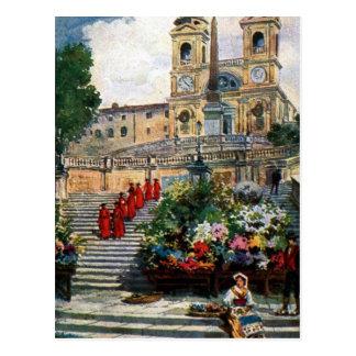 ヴィンテージのローマの水彩画のTrinitaのdei Monti ポストカード