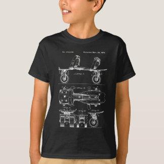 ヴィンテージのローラースケートのパテントのデザイン Tシャツ