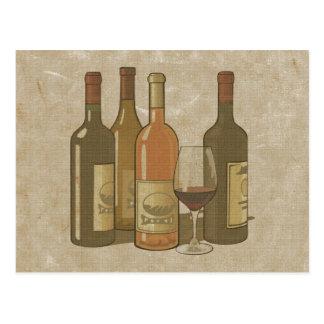 ヴィンテージのワイン・ボトルのレシピカード ポストカード