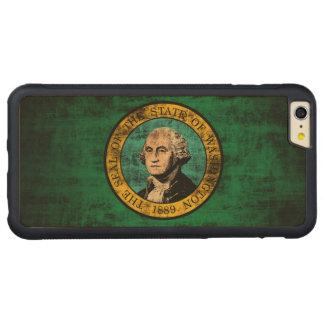 ヴィンテージのワシントン州のグランジな州の旗 CarvedメープルiPhone 6 PLUSバンパーケース