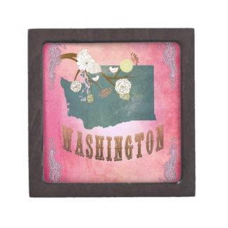 ヴィンテージのワシントン州の地図キャンデーのピンク ギフトボックス