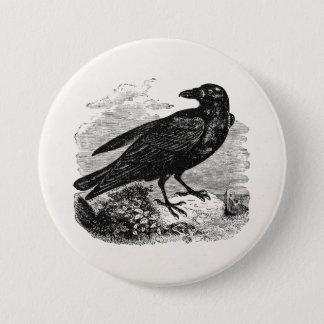 ヴィンテージのワタリガラスの黒の鳥のカラスの名前入りな鳥 7.6CM 丸型バッジ