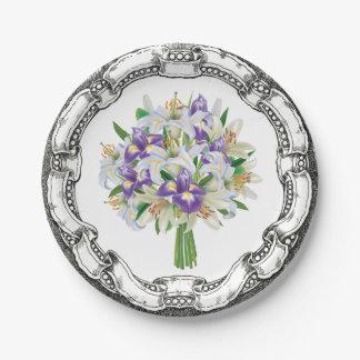 ヴィンテージの一見の花束の紫色のアイリスおよびユリ ペーパープレート
