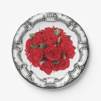 ヴィンテージの一見の花束の赤いバラ ペーパープレート