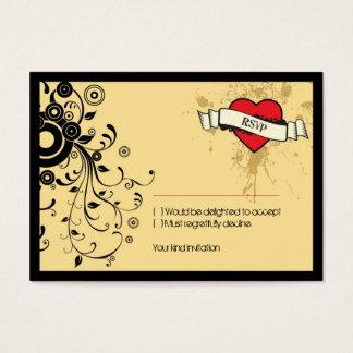 ヴィンテージの一見石及びロール音楽テーマの結婚式 名刺