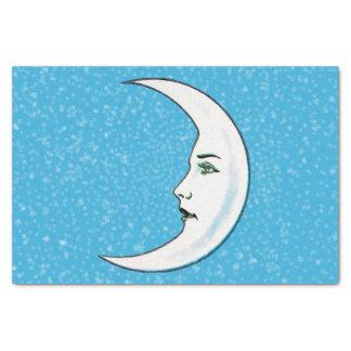 ヴィンテージの三日月形の白い満月様顔貌の白の星 薄葉紙