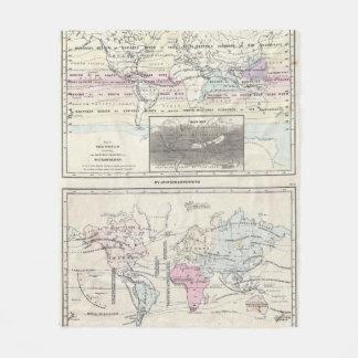 ヴィンテージの世界の気候及び植物の地図(1861年) フリースブランケット