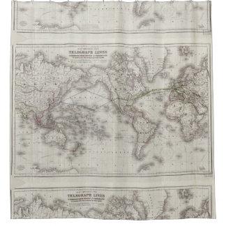 ヴィンテージの世界の電線地図(1855年) シャワーカーテン