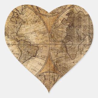 ヴィンテージの世界地図の地図書 ハートシール