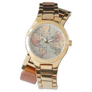 ヴィンテージの世界地図の覆いの腕時計 腕時計