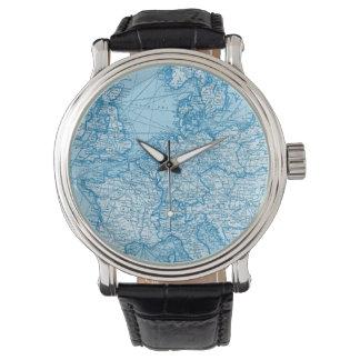 ヴィンテージの世界地図青い旅行腕時計 腕時計