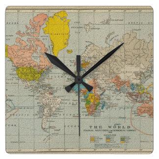 ヴィンテージの世界地図1910年 スクエア壁時計