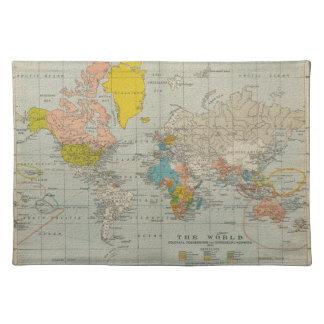 ヴィンテージの世界地図1910年 ランチョンマット