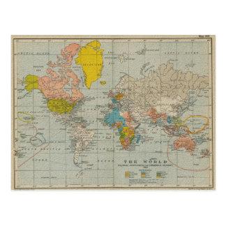 ヴィンテージの世界地図1910年 葉書き