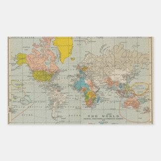 ヴィンテージの世界地図1910年 長方形シール