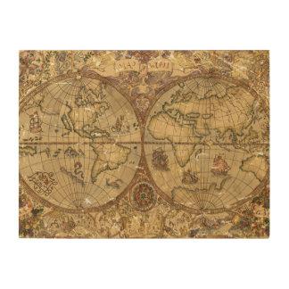 ヴィンテージの世界地図 ウッドウォールアート