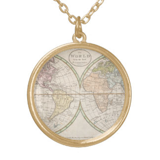 ヴィンテージの世界地図 ゴールドプレートネックレス