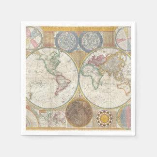 ヴィンテージの世界地図 スタンダードカクテルナプキン