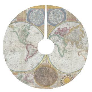 ヴィンテージの世界地図 ブラッシュドポリエステルツリースカート