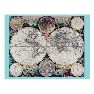 ヴィンテージの世界地図 ポストカード