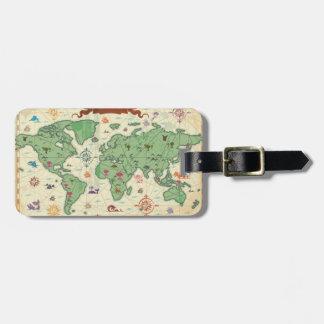 ヴィンテージの世界地図 ラゲッジタグ
