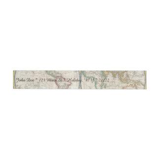ヴィンテージの世界地図 ラップアラウンド宛名ラベル
