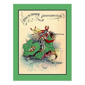 ヴィンテージの中世騎士トーナメントブリュージュ ポストカード