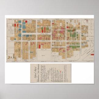 ヴィンテージの中華街サンフランシスコの地図1885年 ポスター