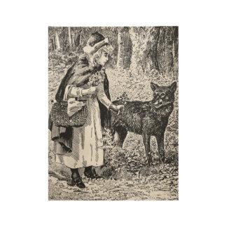 ヴィンテージの乗馬フードのおとぎ話の絵のオオカミ ウッドポスター