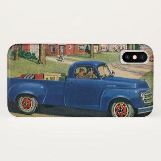 ヴィンテージの交通機関、クラシックで青いトラック iPhone X ケース
