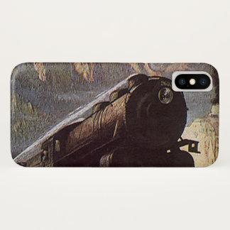 ヴィンテージの交通機関、山の列車旅行 iPhone X ケース
