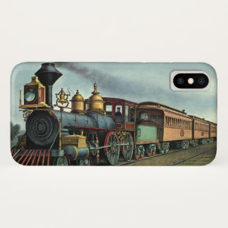 ヴィンテージの交通機関、石炭の列車機関車 iPhone X ケース