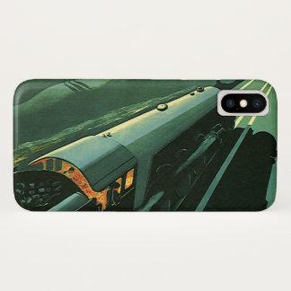 ヴィンテージの交通機関、緑の促進の列車 iPhone X ケース