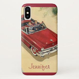 ヴィンテージの交通機関、赤く変換可能な車のビーチ iPhone X ケース