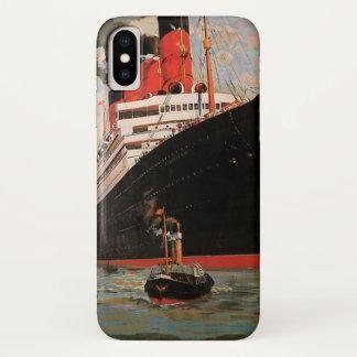 ヴィンテージの交通機関、遊航船港のタグボート iPhone X ケース