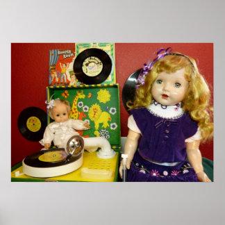 ヴィンテージの人形およびレコードプレーヤ ポスター