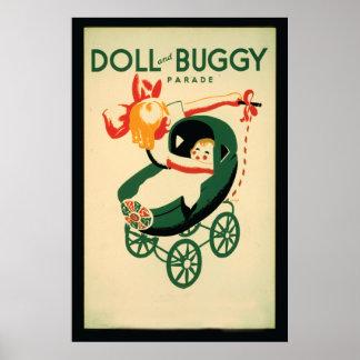 ヴィンテージの人形及び乳母車パレードシカゴ ポスター