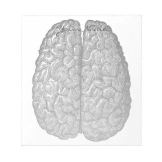 ヴィンテージの人間の脳の絵 ノートパッド