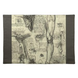 ヴィンテージの人間の解剖学の喉頭の足レオナルド・ダ・ヴィンチ ランチョンマット