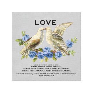 ヴィンテージの仲の良い恋人同士の青いバラ愛はあります キャンバスプリント