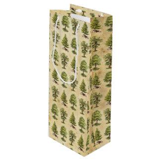 ヴィンテージの休日の木パターン ワインギフトバッグ