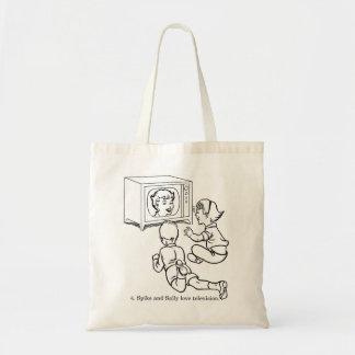 ヴィンテージの低俗なぬり絵帳のスパイク及びサリー愛TV トートバッグ