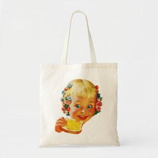 ヴィンテージの低俗なバター愛情のある小さな女の子の広告の芸術 トートバッグ