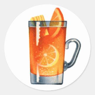 ヴィンテージの低俗なレトロのカクテルのウィスキーの穿孔器の飲み物 ラウンドシール