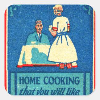 ヴィンテージの低俗な家の調理30s紙マッチ スクエアシール