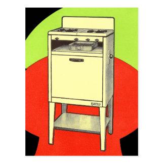ヴィンテージの低俗な電気器具のガス・バーナーのストーブのオーブン ポストカード