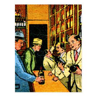 ヴィンテージの低俗な30s酒宴の酒屋の紙マッチ ポストカード