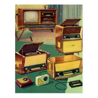 ヴィンテージの低俗な50sハイファイのステレオのテレビ ポストカード